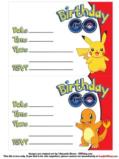 FREE Printable Pokémon Birthday Invitation | Pokemon | Pinterest ...