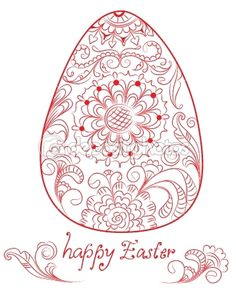 easter card with red egg and floral ornament — Imagen vectorial #9137464