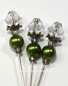 Crystals, Green Pearl, Bead Cap and Diamond Top Stickpin