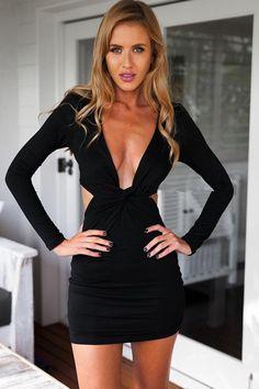 Black Plunge Long Sleeve Cutout Sexy Mini Dress #Black #Dress #maykool