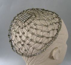Vintage Art Deco Rhinestone & Wire Juliet Cap ~ Flapper Skull Cap