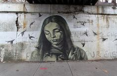 """Faith47, """"Indigo lights rose from our silence"""" for Wall Therapy Rochester, NYC, 2012"""