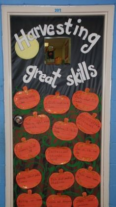 Classroom Door for Fall- the children wrote the different skills we are learning. by iparkhere Classroom Door for Fall- the children wrote the different skills we are learning. by iparkhere Halloween Bulletin Boards, Classroom Bulletin Boards, Classroom Crafts, Classroom Fun, Classroom Activities, Classroom Organization, Kindergarten Classroom, Fall Classroom Door, Thanksgiving Classroom Door