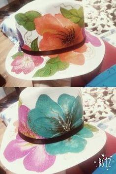Resultado de imagem para hats decoupage Painted Hats, Painted Clothes, Hand Painted, Decoupage, Diy And Crafts, Arts And Crafts, Hat Decoration, Diy Hat, Thread Art
