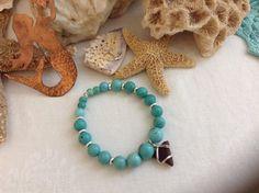 Sea glass & Turquoise bracelet by WaterSpirits Jewelry