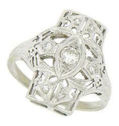 Diamond Art Deco Ring. Repinned by one of WorthPoint's favorite pinners!