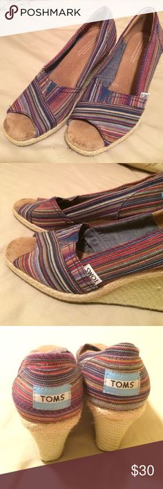 Toms stripped wedges Stripped blue, pink, purple Toms wedges. Size 5.5. Worn twice, these are a little big on me. TOMS Shoes Wedges