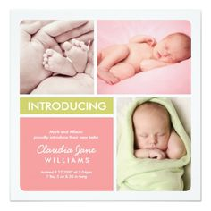 Multiple Photo Birth Announcement   Pink Green Square Invitation Card