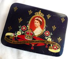 Vintage Queen Elizabeth II Coronation Day tin