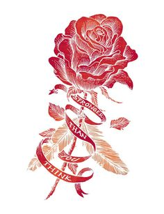 """This detailed illustration of a rose represents beauty and delicacy, yet also serves as a reminder that roses have thorns that protect and shield. The message """"Stronger than you think"""" is intended to inspire you to trust in your inner strength and ability to fight back. #Sevenly"""