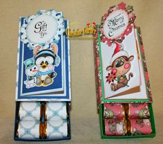 It's tutorial Tuesday at http://digitaldelightsbyloubyloo.blogspot.com/. This week Christine Garner has a brilliant tutorial on how to make these Gift card holder with nugget boxes. Great gift idea! Example show Slippy and snowman, Festive monkey, holly jolly papers and magical winter sentiments from www.digitaldelightsbyloubyloo.com