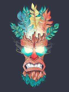 Aku Aku - Crash Bandicoot Wood Mask Art Print by Fernando Nunes Tiki Maske, Character Art, Character Design, Tiki Art, Masks Art, Dope Art, Concept Art, Illustration Art, Geek Stuff