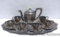 Very Art Deco 1930s Austrian Hungarian .800 Fine Silver Tea Set for 6