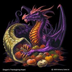 Thanksgiving-Dragon-Dragon's Thanksgiving Hoard by Alchemy Carla Mythological Creatures, Fantasy Creatures, Mythical Creatures, Dragon Armor, Clay Dragon, Pet Dragon, Dragon Crafts, Dragon Images, Dragon Pictures