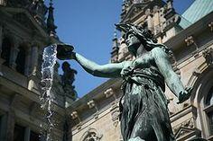 Hygieia fountain in the city hall courtyard, Hamburg, Germany