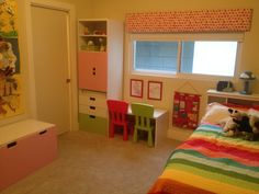 """The new """"workstation"""" in Annabelle's room - mostly STUVA from Ikea."""