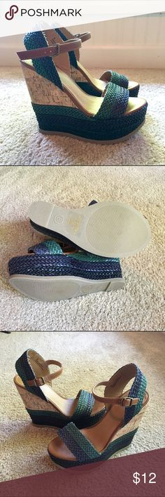 Blue and green cork wedges Never worn! Real comfy summer wedges! Mossimo Supply Co Shoes Wedges