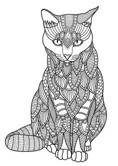 The best collection of Cats coloring pages for adults. All Cats coloring pages can be downloaded or printed for free. Cat Coloring Page, Animal Coloring Pages, Adult Coloring Pages, Black And White Pictures, Colour Images, Dog Cat, Fancy, Printed, Cats