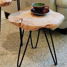 This Cedar End Table can be used as an end table/stool, coffee table base, outdoor stool or indoor plant stand, etc. Unique gifts ideal for your friends and relatives. Each piece is hand-carved by ski Small End Tables, Wood End Tables, End Tables With Storage, Side Tables, Unique End Tables, Table Palette, Coffee Table Base, Coffee Tables, Outdoor Stools
