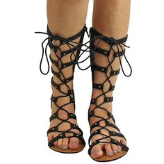 Black Roman Gladiator Lace-Up Sandals ($35) ❤ liked on Polyvore featuring shoes, sandals, black, flats women, footwear, roman gladiator sandals, black flats, black studded flats, black flat shoes and lace up flats