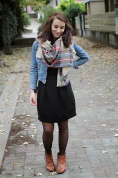 Zara scarf, Black Skirt, Jean shirt. Love!