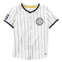 Baby Boy Carter's Pinstripe Button-Down Baseball Jersey Tee, Size: 18 Months, Ovrfl Oth