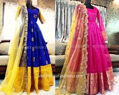 convert old sarees into long gowns and anarkali dress Long Gown Dress, Lehnga Dress, Long Gowns, Saree Gown, Long Dresses, Lehenga Blouse, Gown Dress Party Wear, Frock Dress, Long Evening Gowns
