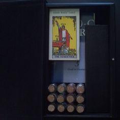 Tarot and wand box open