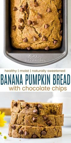 Healthy Banana Pumpkin Bread loaded with gooey chocolate chips! This is the best pumpkin bread recipe you'll ever have, it's moist and absolutely delicious. Loaded with warm fall spices, naturally sweetened with bananas and maple syrup this pumpkin bread is the perfect fall recipe! #pumpkinbread #pumpkin #bananabread #fallrecipes