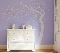 WOW, I LOVE THIS SO MUCH!!! White/Grey Tree Mural #pbkids