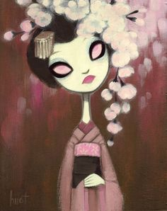 Cherry Blossom - 8x10 acrylic/mixed media on birch (Corey Helford Gallery LA)