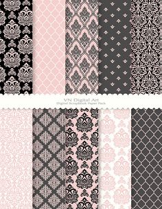 "Digital Paper, Damask Digital Paper Pack (8.5x11""-300 dpi) -- Instant Download -- 10 Digital papers -- 326"
