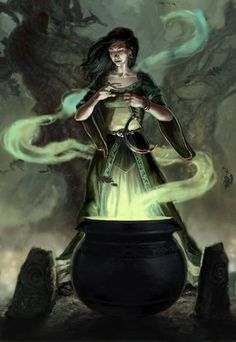 Ceridwen most often takes the form of a crone. She embodies the aspects of woman in her old age; wisdom, knowledge, understanding. Ceridwen is a powerful sorceress, and she holds the secrets of knowledge and wisdom. Ceridwen stirs the cauldron of knowledge. The potion inside contains all the knowledge of the world and must be stirred for a year and a day before it is properly prepared.
