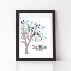 Personalized Family Tree Art Print  Family Name by StarbriteStudio