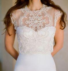 Kirstie Kelly Delicate Crystals Embroidered Illusion Neckline Wedding Dress