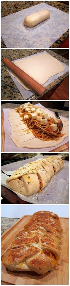 This would be super cool... Braided Spaghetti Bread. Or what about with meatballs or ceasar chicken, yumm