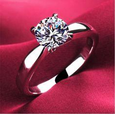 높은 품질 1.2 캐럿 4 발톱 cz 다이아몬드 반지 18 천개 백금 도금 보석 약혼 동맹 미국 크기