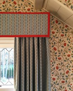 Installing a sweet guest bedroom under the eaves of an old house in CT. Curtain Fabric, Valance Curtains, Window Coverings, Window Treatments, Eye For Detail, Window Dressings, House Windows, Guest Bedrooms, Old Houses