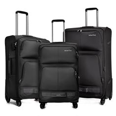Windtook 3 Pieces Expandable Luggage Set Softside Carry on Suitcase Bag for Travel and Business (20'/24'/28' with Spinner Wheels) Black >>> Want to know more, click on the image. (This is an Amazon Affiliate link and I receive a commission for the sales)