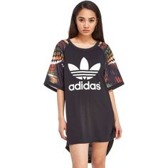 adidas Originals Rita Ora Trapeze Cut Out T-Shirt Dress (180 BRL) ❤ liked on Polyvore featuring dresses, cut out sleeve dress, graphic t shirt dress, sleeve dress, cutout dress and graphic tee dress