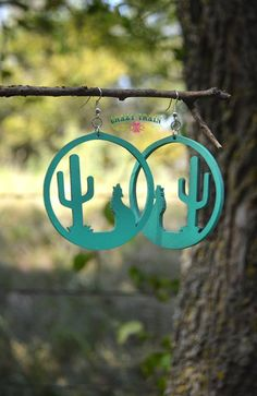 New Crazy Train Coyote Call Wooden Chunky Earrings Turquoise Southwest Large #CrazyTrain #Long