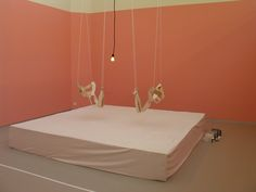 Carsten Holler, 'Pea Love Room', 1993 A small space in which to make love without touching the ground - comprised of two sex harnesses, a mattress and a phial and syringe containing PEA,...