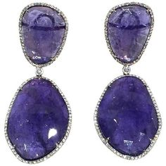 Preowned Fabulous Tanzanite And Diamond Earrings ($9,800) ❤ liked on Polyvore featuring jewelry, earrings, multiple, tanzanite jewellery, 18 karat gold jewelry, pre owned jewelry, preowned jewelry and 18k earrings