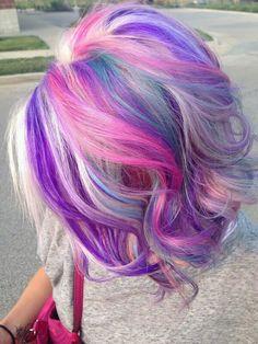 Bleach blonde , bright pink.purple.blue