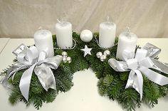 Adventskranz frisch Halbmond weiß silber 40 cm Weihnachten Advent Gesteck Kranz