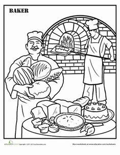 Second Grade Life Learning Worksheets: Baking Coloring Page