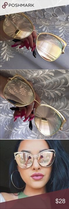 "CASE INCLUDED Pink Shiver Mirror Cat Eye Pink Shiver mirror lenses. Gold color frame. Approximately 6 1/2"" temple, 2 1/2"" eye size. Oversize appearance. Unbranded. Lightweight plastic lenses and frames. Includes small lens cloth and zipper case. Brand new retail w/o tag. No trades, no off App transactions.                  5% off bundles  Accessories Glasses"