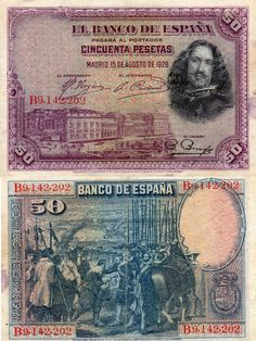 Billetes antiguos de España- 50 pesetas de 1928, anverso y reverso