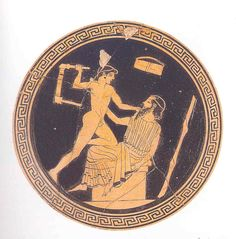 Hércules.   Heracles arremete contra Lino, su profesor de música. Vaso ático (c. 480 a.C.)
