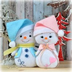 Snowman and Family PDF Pattern Felt Pattern Plush by HelloFelt by Adriana Lima